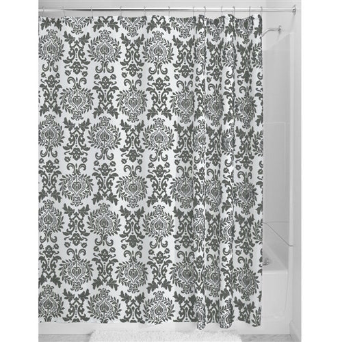 Charcoal White Damask Shower Curtain in Polyester Fabric