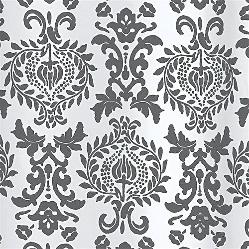 Charcoal White Damask Shower Curtain in Polyester Fabric – Simply ...