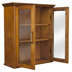 Double Door Oak Wall Cabinet Right Facing View With Both Doors Open.