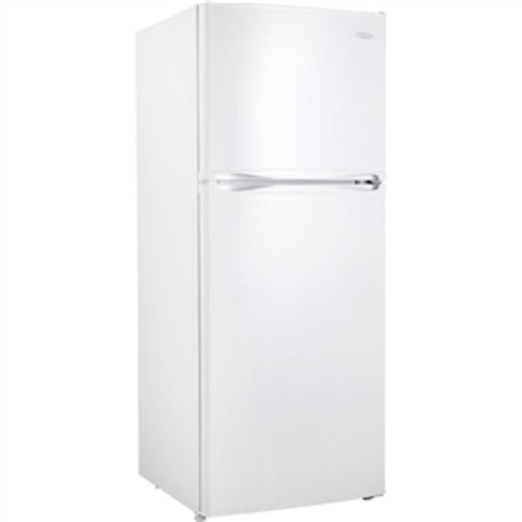 white 2 door refrigerator with one door on top and the other door on the bottom.