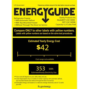 energy guide sticker showing an average $42.00 per year energy cost.