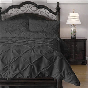 Queen size 4-Piece Charcoal Microfiber Comforter Set w/ Pinch Pleat Puckering