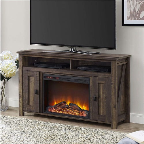 "Photo of the unit's control details. Create a warm and inviting atmosphere in your home with this 50-inch TV Stand in Medium Brown Wood with 1,500 Watt Electric Fireplace. The 50-inch TV Stand in Medium Brown Wood with 1,500 Watt Electric Fireplace includes a remote controlled 23"" electric fireplace insert that gives a realistic glow of a wood burning flame without all the cleanup and work of a wood burning fireplace. This TV Console is built to accommodate flat panel TVs up to 50"" wide and up to 55 lbs."