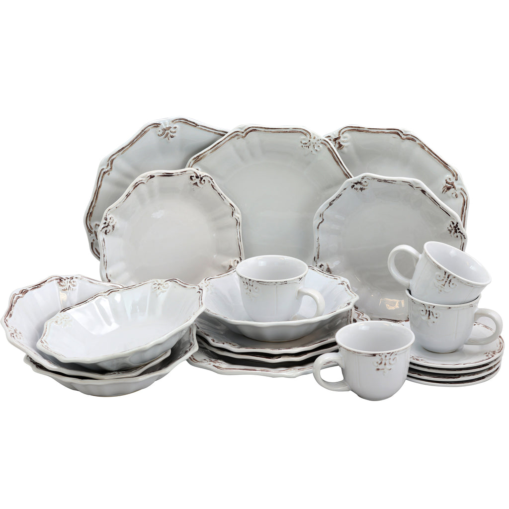 White dinner set with border accents on a white background.