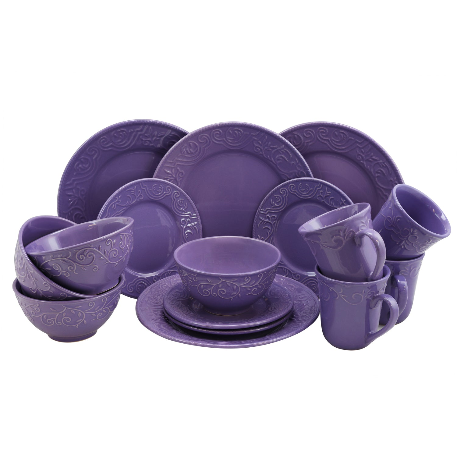 Trendy Purple dinnerware set on a white background.