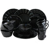 Retro black dinnerware set.