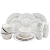 White retro pattern dinnerware set on a white background.