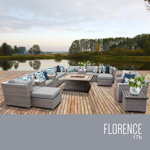 Gray wicker patio set with gray cushions.