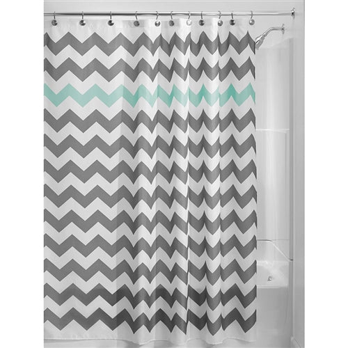 Grey and White Chevron Polyester Fabric Shower Curtain, Aqua Blue or Yellow Accent