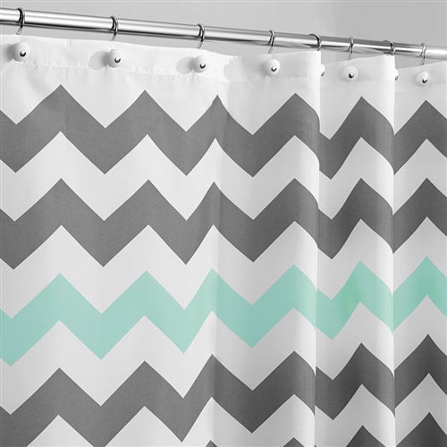 Gray Aqua Blue And White Chevron Polyester Fabric Shower Curtain
