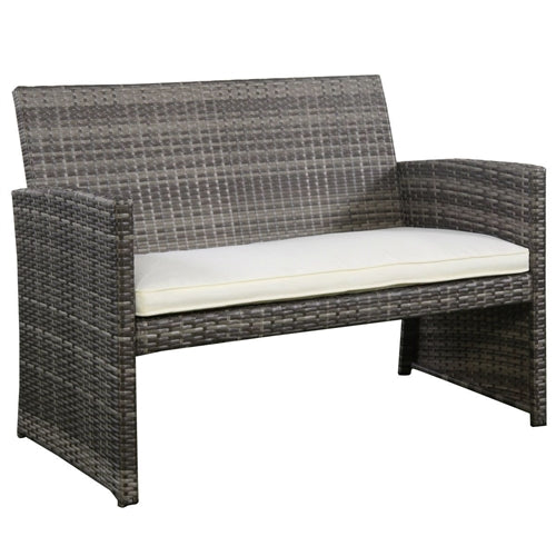 Gray rattan love seat with fabric cushion.