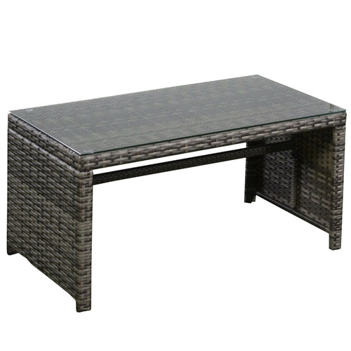 Gray rattan outdoor coffee table with glass top.