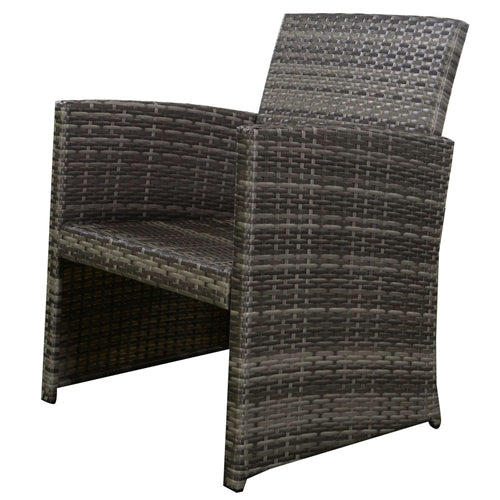 Gray rattan outdoor armchair detail.