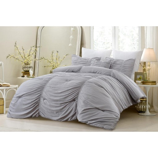 4 Piece Ruched All Season Super Soft Oversized Comforter Set