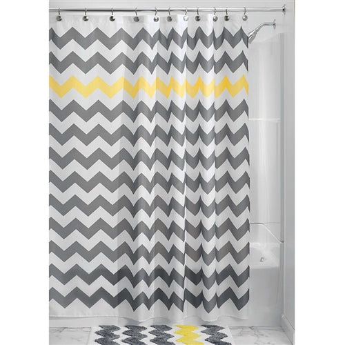 Gray Yellow and White Chevron Polyester Fabric Shower Curtain