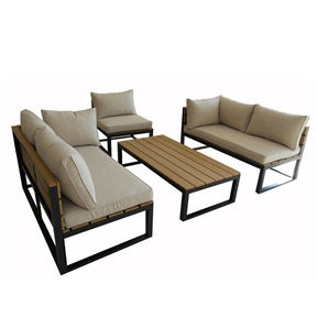 A modern patio set on a white background with a different configuration of components facing each other with the coffee table in the middle.