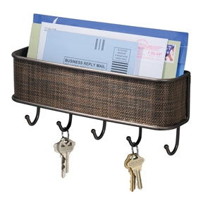 Wall Mount Mail Holder Bin with Key Hooks