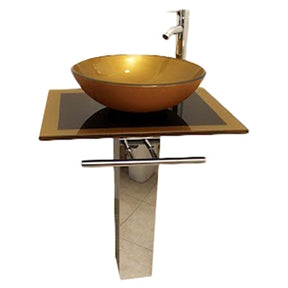 Modern pedestal sink with golden glass sink bowl on top of a flat decorative counter top.