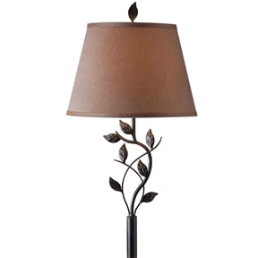 Bronze floor lamp leafy accents highlight.