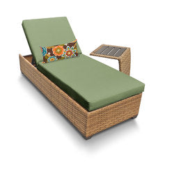 Carmel Wicker with Wheat Covers Laguna Chaise Outdoor Wicker Patio Furniture With Side Table