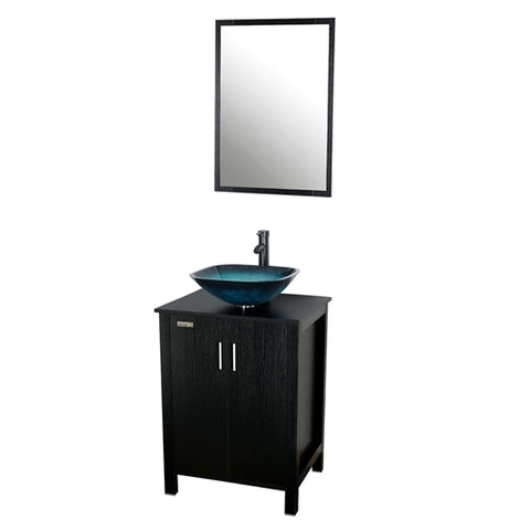 Mirror and vanity with a blue green sink bowl on top on a white background.
