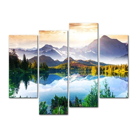 Four panel mountain lake painting with the sun over the mountains.