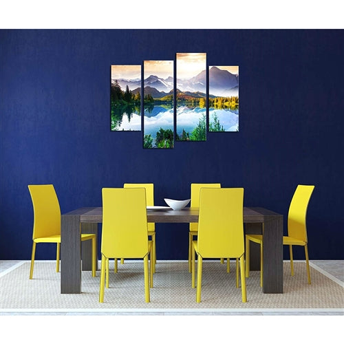 dining room scene yellow chairs with a brown table and dark blue wall with a mountain lake painting on the wall.