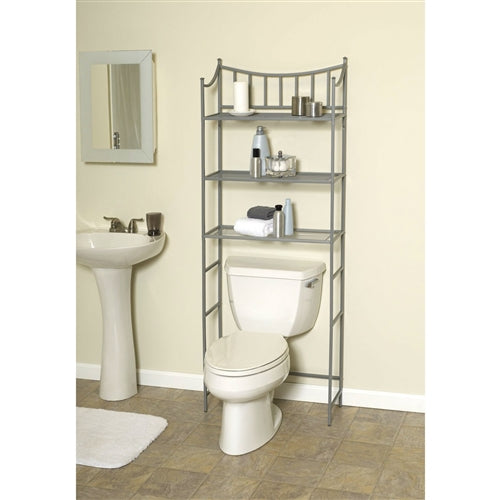 Over the toilet shelves in actual bathroom. This Bathroom Space Saving Over the Toilet Linen Tower Shelving Unit in Nickel Finish would be a great addition to your home. It has a pearl nickel finish and fits over standard toilet tanks.