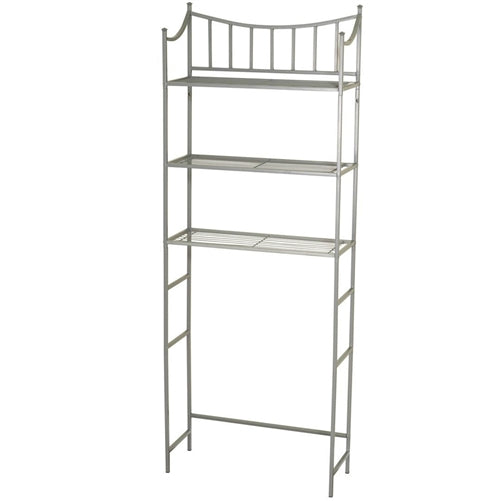 This Bathroom Space Saving Over the Toilet Linen Tower Shelving Unit in Nickel Finish would be a great addition to your home. It has a pearl nickel finish and fits over standard toilet tanks.