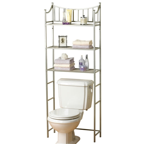 Over the toilet shelves without back ground. This Bathroom Space Saving Over the Toilet Linen Tower Shelving Unit in Nickel Finish would be a great addition to your home. It has a pearl nickel finish and fits over standard toilet tanks.