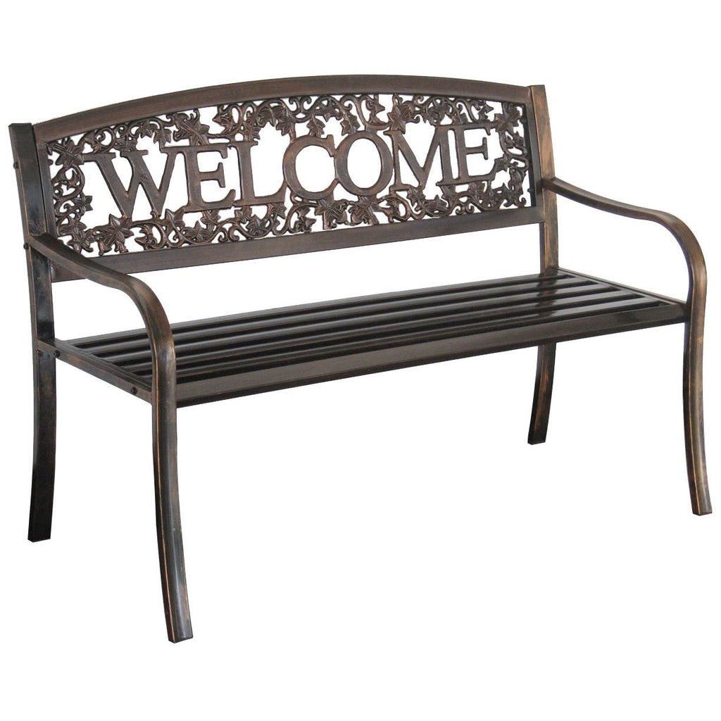 Metal garden bench with the word welcome in the backrest on a white background.