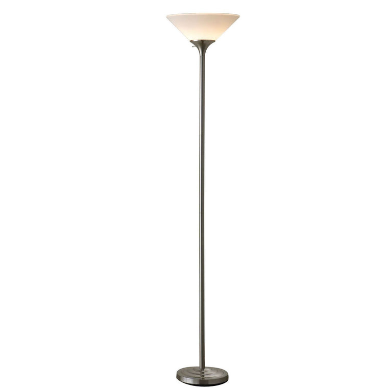 71-inch Torchiere Floor Lamp in Brushed Steel Finish white Plastic Shade