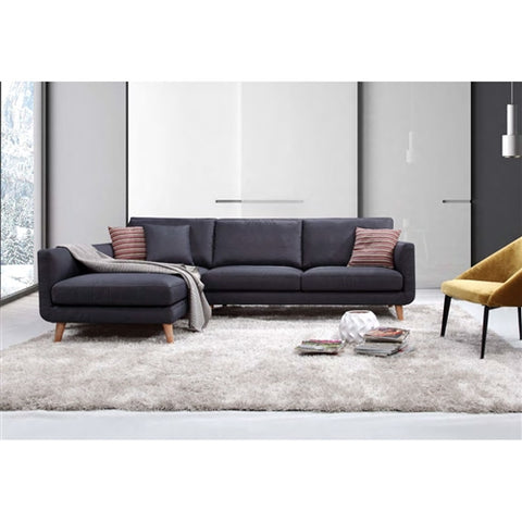 Modern Mid-Century L-Shaped Left Facing Sectional Sofa in Navy Blue Grey Linen