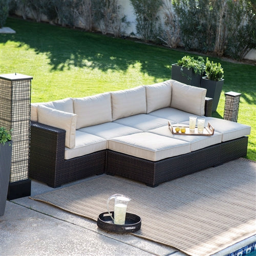 Sectional wicker patio set with configuration variation possibility highlighted.