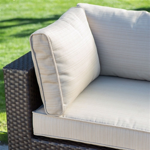 sectional wicker outdoor patio set with seat cushions highlighted.