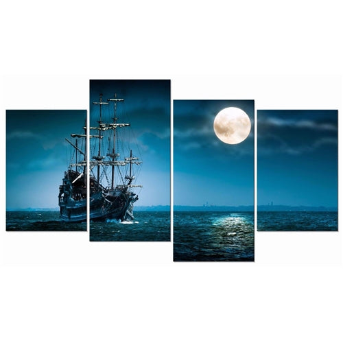 blue sectional painting of a ship and a moon with white background.