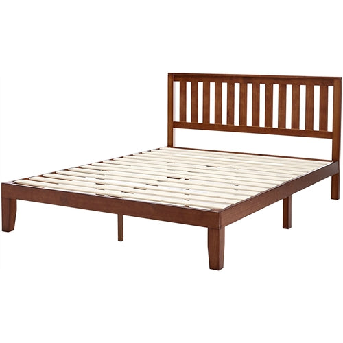 Queen Mission Style Solid Wood Platform Bed Frame with Headboard, Espresso Finish