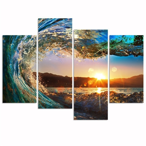 four panel ocean wave painting looking at the sunset.