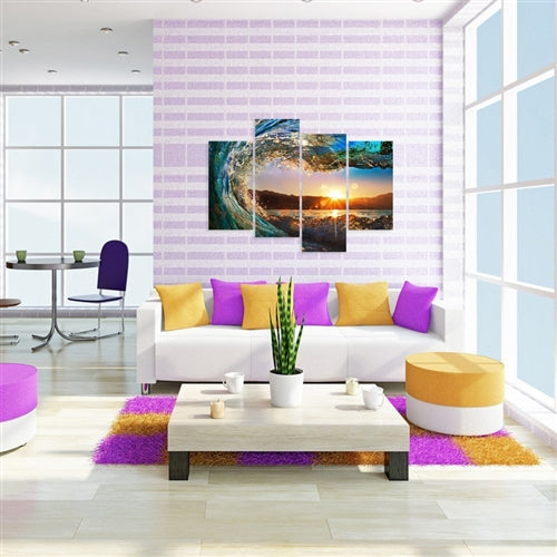 colorful living room scene white couch, purple and yellow pillows and pink stripped wall paper with an ocean wave painting on the wall.