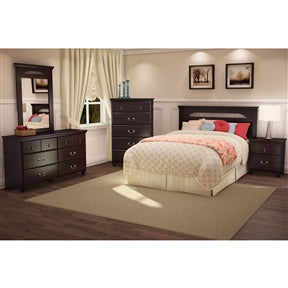 Dark Mahogany Wood Grain Finish Bedroom Dresser with 6 Drawers