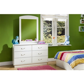 Photo of the dresser in an actual bedroom. This 6-Drawer Double Dresser in White Finish with Interchangeable Handles is well adapted to today's needs with lots of storage room, a choice of handles with different color inserts, and a platform base for a Simply great contemporary look.