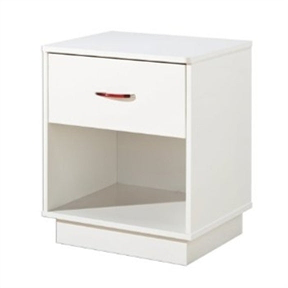Featuring bold, clean lines and a pure-white finish, this 1-Drawer Nightstand with Open Compartment in White Finish lends a sense of modern convenience to any bedroom, den, or guest room. The unit's durable, engineered-wood construction stands up to everyday wear and tear, while its crisp, contemporary surface and platform-style base blend Simply beautifully with any decor.
