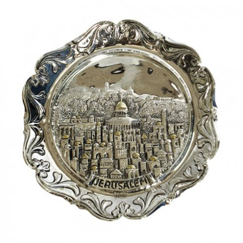Silver and gold plated circular wall hanging depicting the old city of Jerusalem.