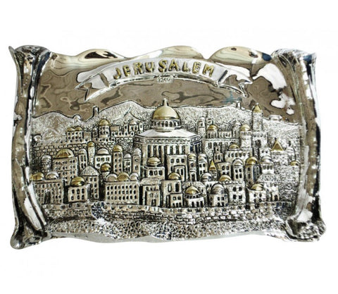 silver and gold rectangular wall decoration highlighting the old city of jerusalem.