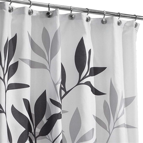 Tree Branch Leaves Black White Grey Fabric Shower Curtain