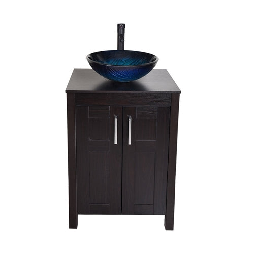 Modern Bathroom Vanity Set with Dark Brown Cabinet and Dark Blue Glass Sink Top and Faucet