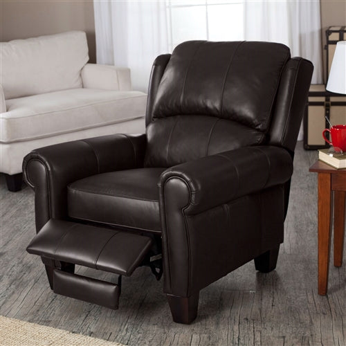 brown recliner in a living room setting leg rest completely up.