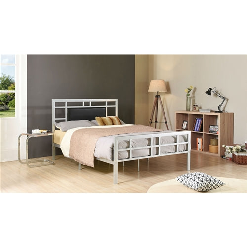 Twin Metal Platform Bed Frame in Silver with Black Upholstered Headboard Center Panel