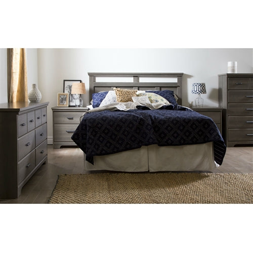 Photo of the nightstand with the rest of the bedroom furniture present. You will Simply love this 2-Drawer Bedroom Nightstand in Gray Maple Wood Finish for its many storage spaces! It has a rich finish that creates an air of sophistication in any bedroom enhances it.