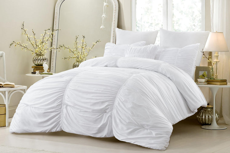 4 Piece Ruched Oversized Comforter Set White